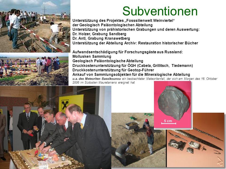 Subventionen Unterstützung des Projektes Fosssilienwelt Weinviertel der Geologisch Paläontologischen Abteilung Unterstützung von prähistorischen Grabungen und deren Auswertung: Dr.