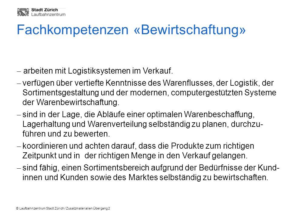 © Laufbahnzentrum Stadt Zürich / Zusatzmaterialien Übergang 2 arbeiten mit Logistiksystemen im Verkauf.