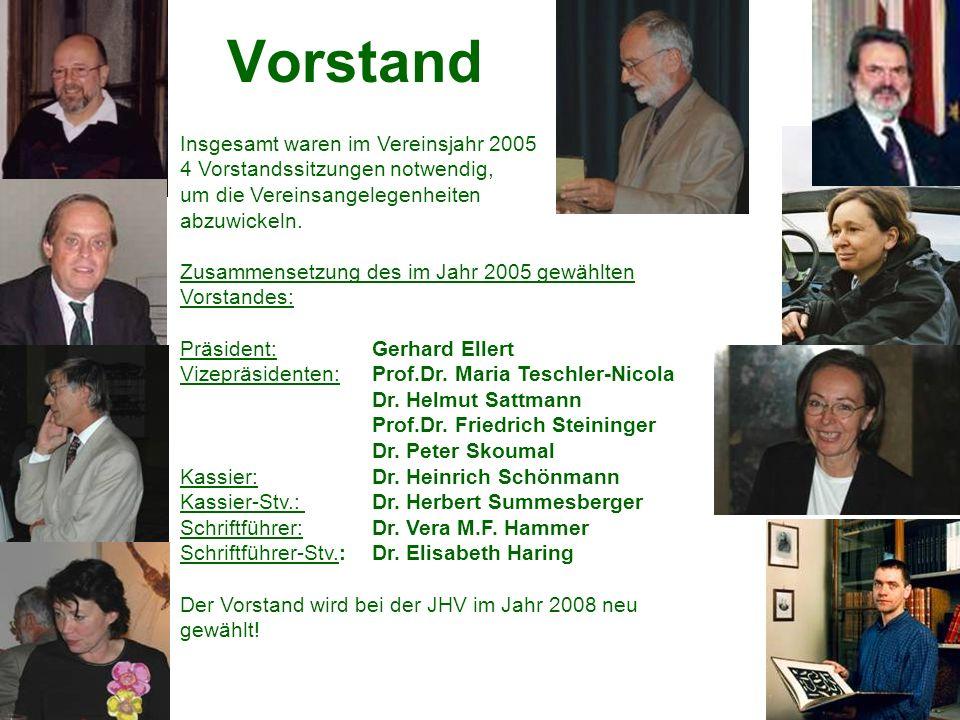 Vorstand Insgesamt waren im Vereinsjahr 2005 4 Vorstandssitzungen notwendig, um die Vereinsangelegenheiten abzuwickeln.