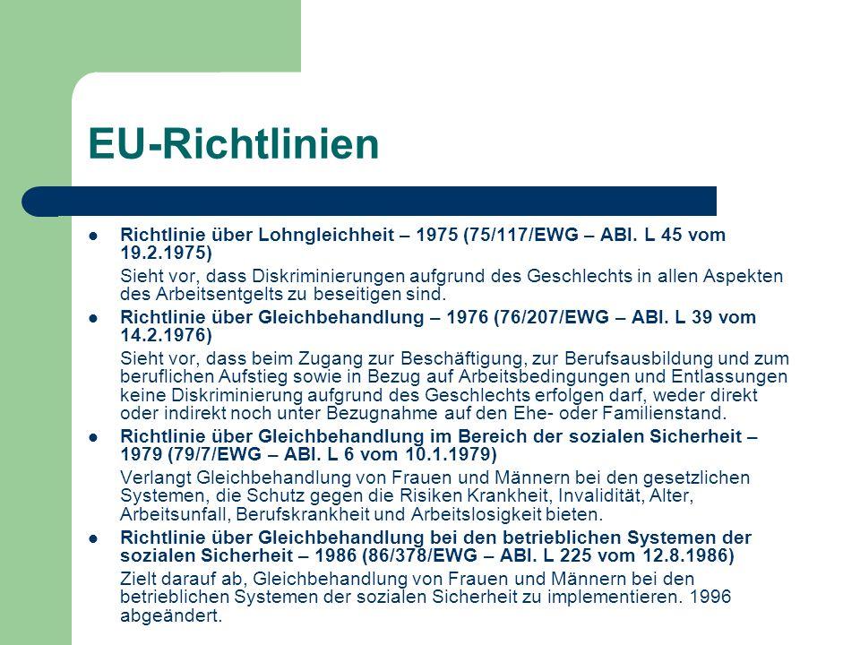EU-Richtlinien Richtlinie über Lohngleichheit – 1975 (75/117/EWG – ABl. L 45 vom 19.2.1975) Sieht vor, dass Diskriminierungen aufgrund des Geschlechts