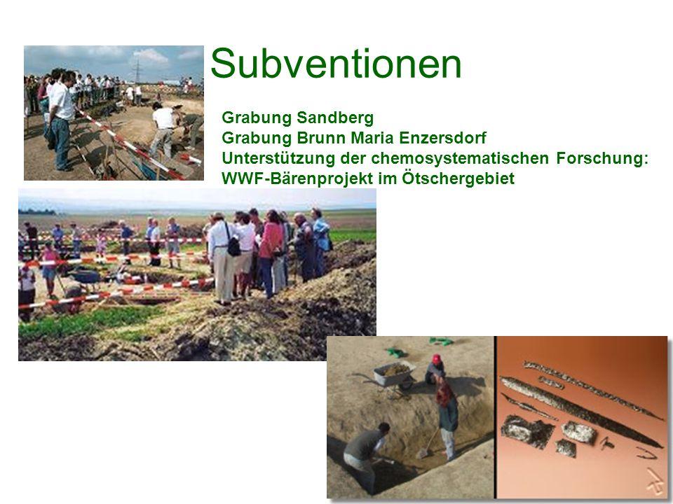 Subventionen Grabung Sandberg Grabung Brunn Maria Enzersdorf Unterstützung der chemosystematischen Forschung: WWF-Bärenprojekt im Ötschergebiet