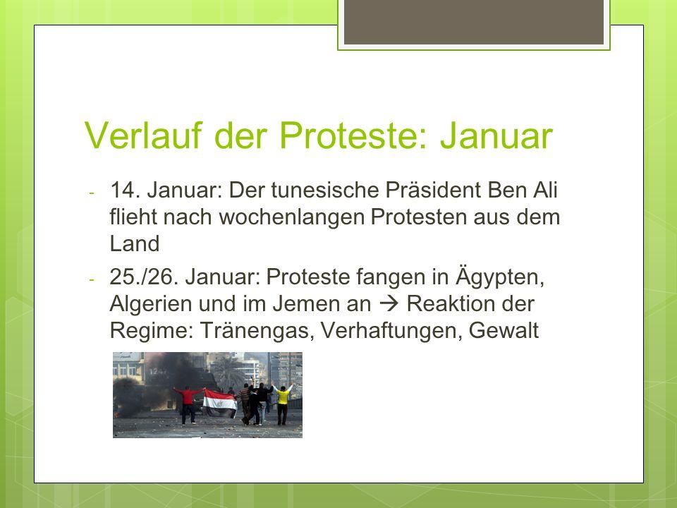 Verlauf der Proteste: Januar - 14. Januar: Der tunesische Präsident Ben Ali flieht nach wochenlangen Protesten aus dem Land - 25./26. Januar: Proteste