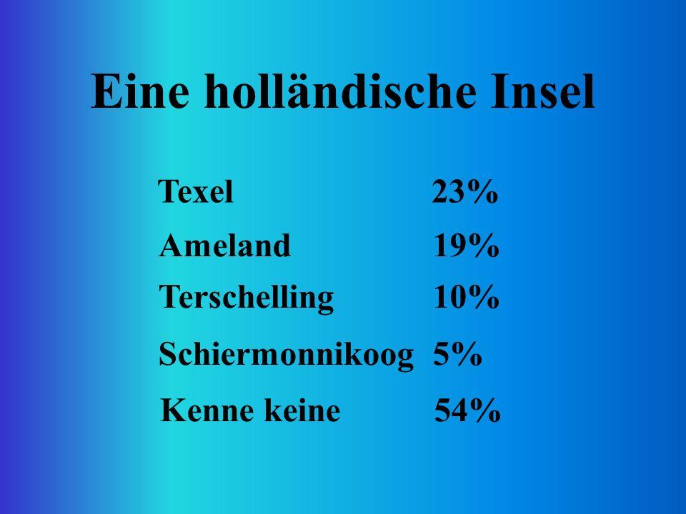 Eine holländische Insel Texel23% Ameland19% Terschelling10% Schiermonnikoog5% Kenne keine54%