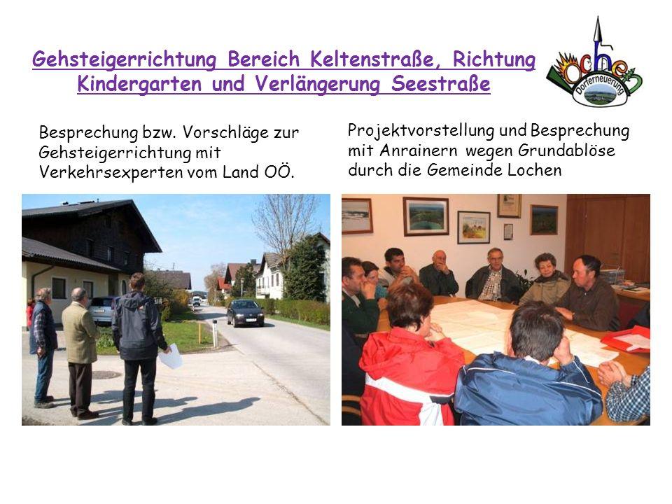 Gehsteigerrichtung Bereich Keltenstraße, Richtung Kindergarten und Verlängerung Seestraße Besprechung bzw. Vorschläge zur Gehsteigerrichtung mit Verke