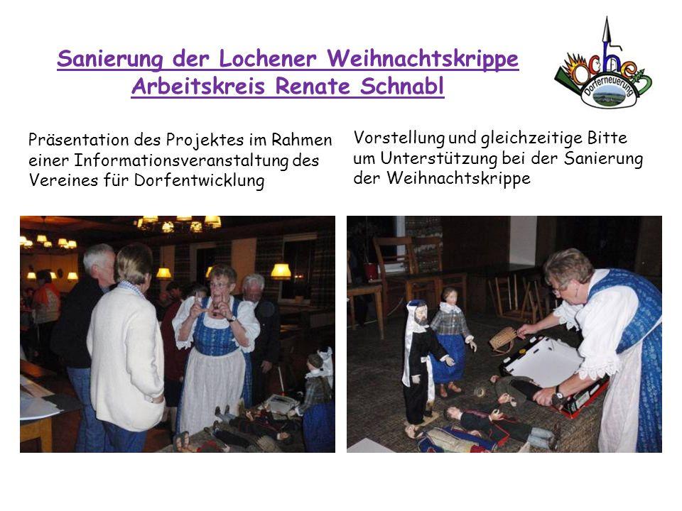 Sanierung der Lochener Weihnachtskrippe Arbeitskreis Renate Schnabl Präsentation des Projektes im Rahmen einer Informationsveranstaltung des Vereines