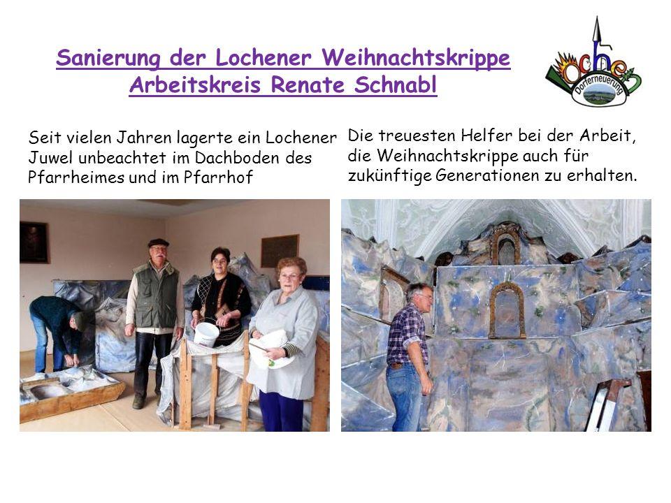 Sanierung der Lochener Weihnachtskrippe Arbeitskreis Renate Schnabl Seit vielen Jahren lagerte ein Lochener Juwel unbeachtet im Dachboden des Pfarrhei