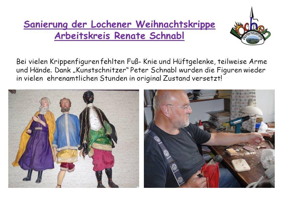 Sanierung der Lochener Weihnachtskrippe Arbeitskreis Renate Schnabl Bei vielen Krippenfiguren fehlten Fuß- Knie und Hüftgelenke, teilweise Arme und Hä
