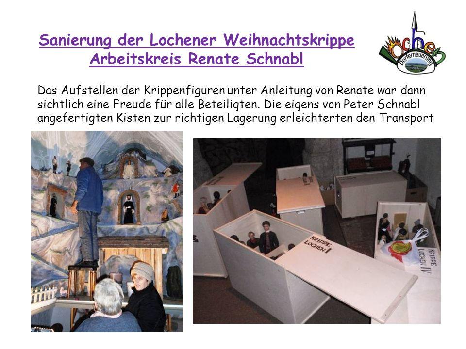 Sanierung der Lochener Weihnachtskrippe Arbeitskreis Renate Schnabl Das Aufstellen der Krippenfiguren unter Anleitung von Renate war dann sichtlich ei