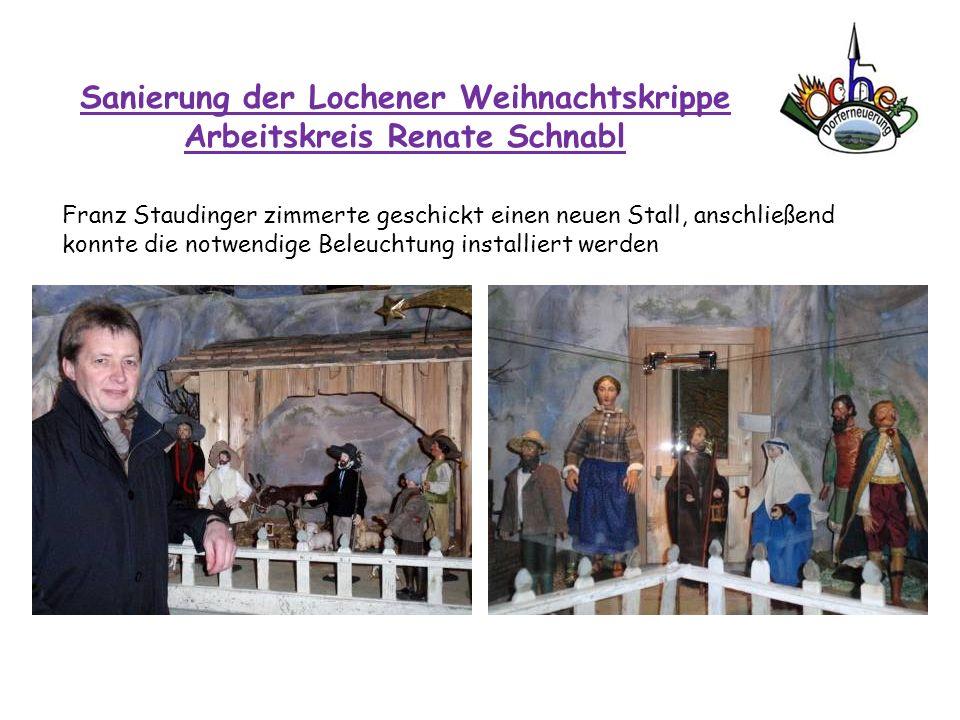 Sanierung der Lochener Weihnachtskrippe Arbeitskreis Renate Schnabl Franz Staudinger zimmerte geschickt einen neuen Stall, anschließend konnte die not