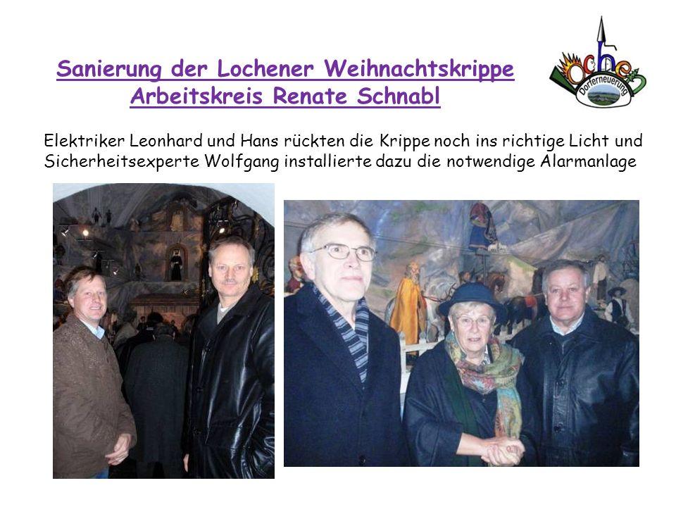 Sanierung der Lochener Weihnachtskrippe Arbeitskreis Renate Schnabl Elektriker Leonhard und Hans rückten die Krippe noch ins richtige Licht und Sicher