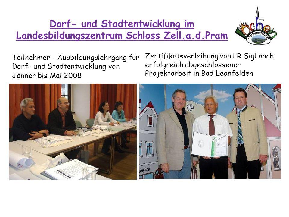 Dorf- und Stadtentwicklung im Landesbildungszentrum Schloss Zell.a.d.Pram Teilnehmer - Ausbildungslehrgang für Dorf- und Stadtentwicklung von Jänner b