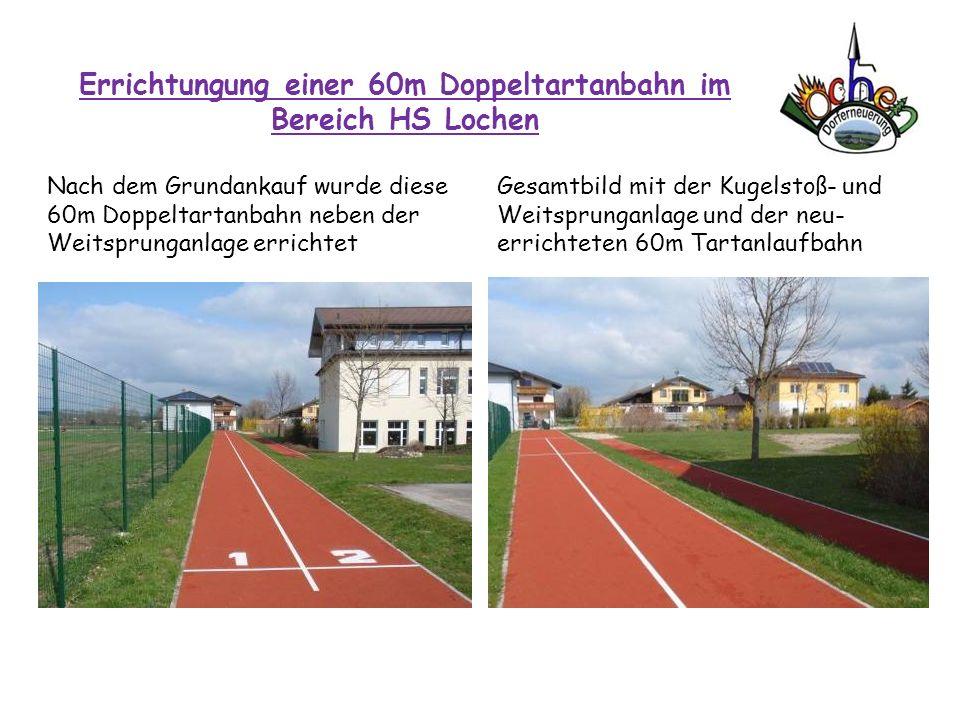 Errichtungung einer 60m Doppeltartanbahn im Bereich HS Lochen Nach dem Grundankauf wurde diese 60m Doppeltartanbahn neben der Weitsprunganlage erricht