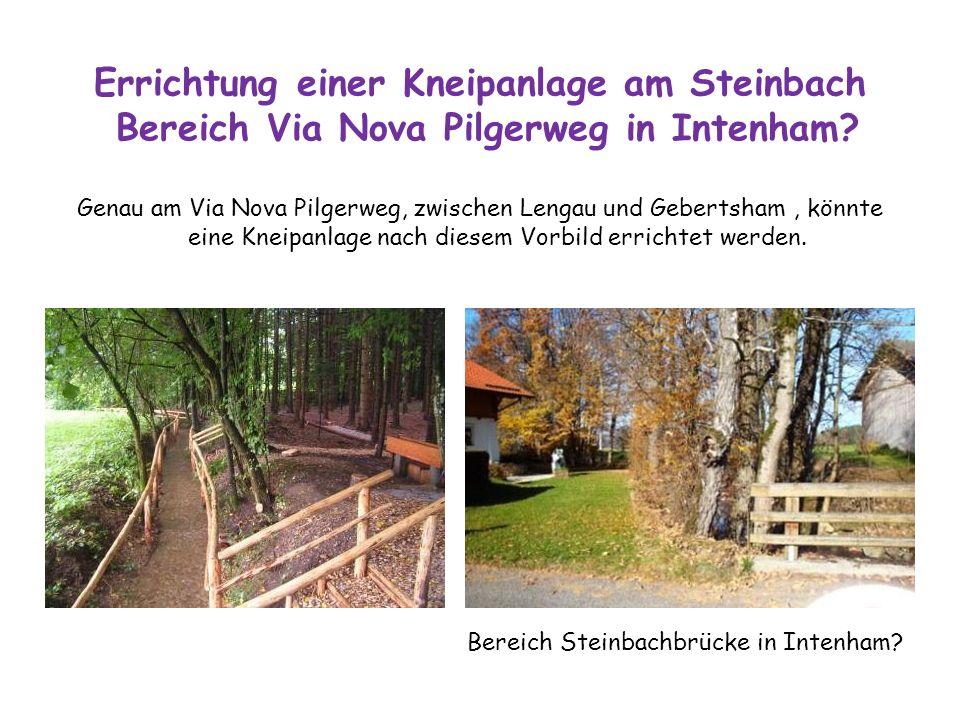 Errichtung einer Kneipanlage am Steinbach Bereich Via Nova Pilgerweg in Intenham? Genau am Via Nova Pilgerweg, zwischen Lengau und Gebertsham, könnte