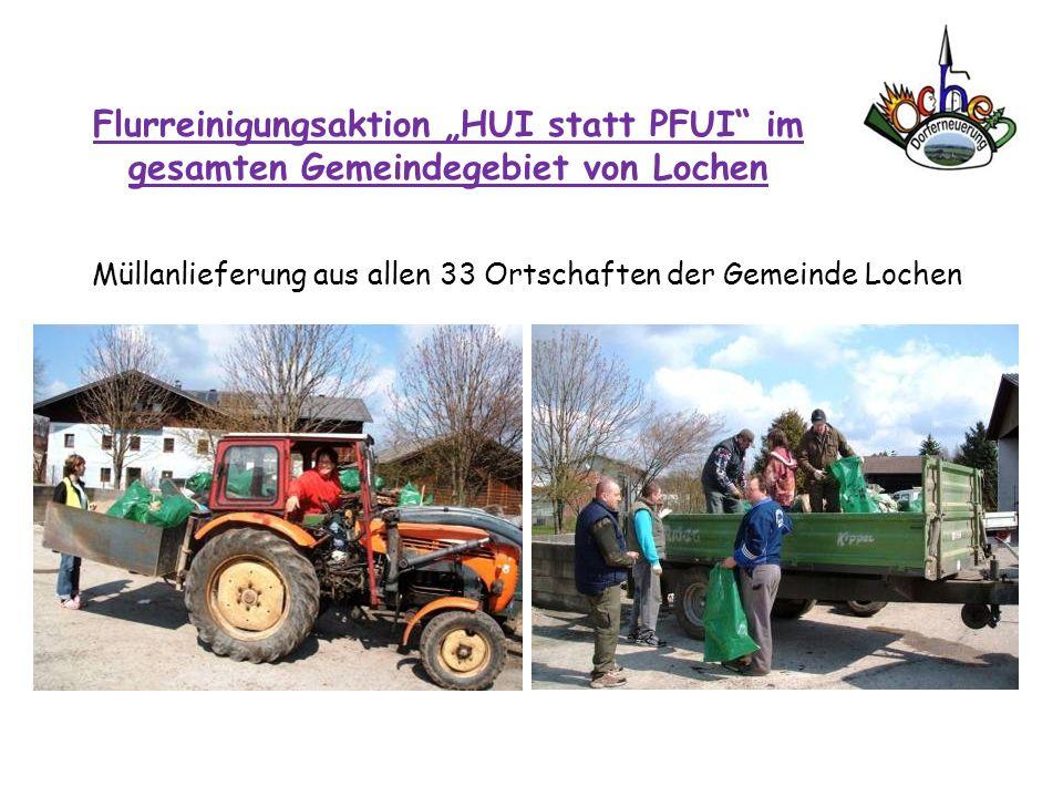 Flurreinigungsaktion HUI statt PFUI im gesamten Gemeindegebiet von Lochen Müllanlieferung aus allen 33 Ortschaften der Gemeinde Lochen
