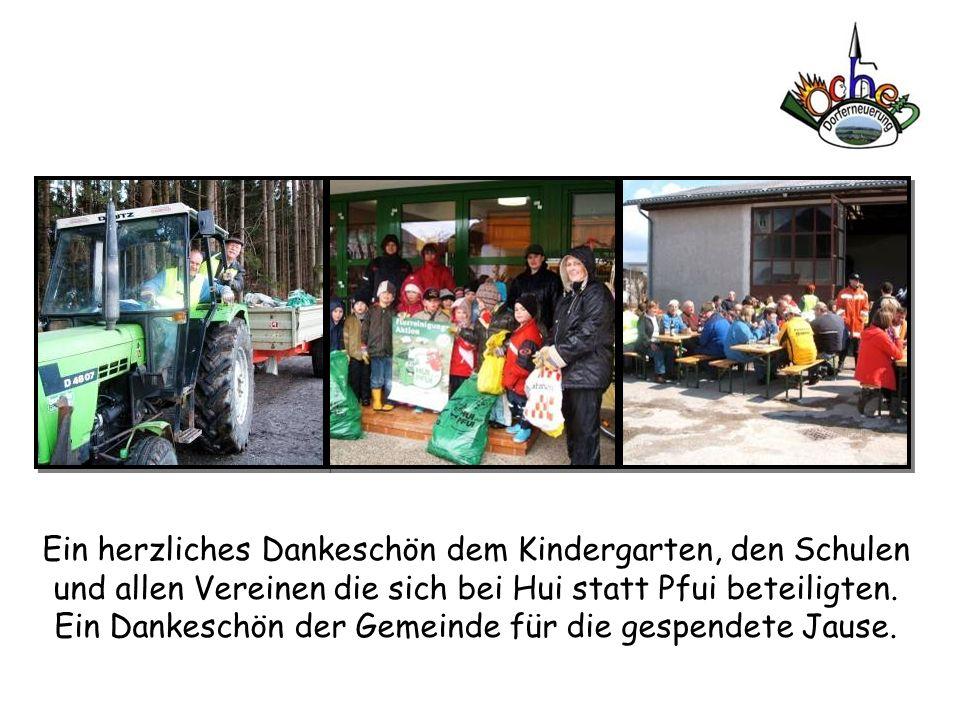Ein herzliches Dankeschön dem Kindergarten, den Schulen und allen Vereinen die sich bei Hui statt Pfui beteiligten. Ein Dankeschön der Gemeinde für di