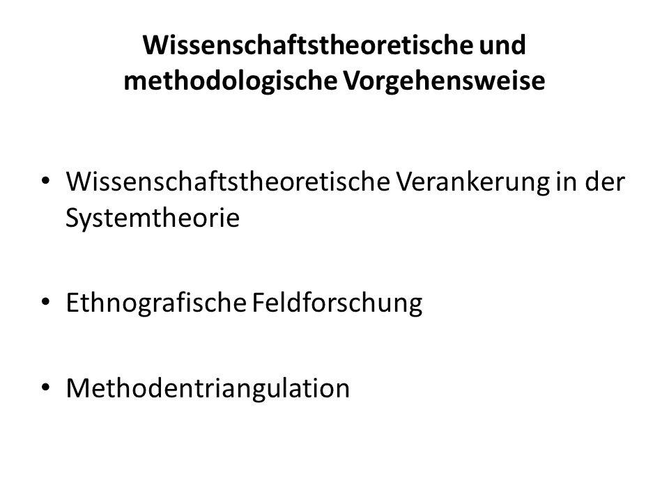 Wissenschaftstheoretische und methodologische Vorgehensweise Wissenschaftstheoretische Verankerung in der Systemtheorie Ethnografische Feldforschung Methodentriangulation