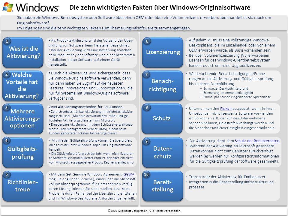 Die zehn wichtigsten Fakten über Windows-Originalsoftware Was ist die Aktivierung? Welche Vorteile hat die Aktivierung? Als Produktaktivierung wird de