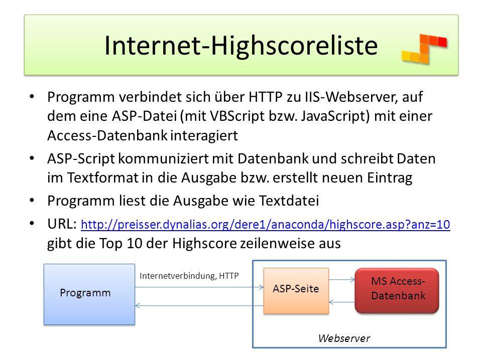Internet-Highscoreliste Programm verbindet sich über HTTP zu IIS-Webserver, auf dem eine ASP-Datei (mit VBScript bzw.