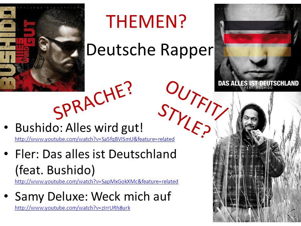 Deutsche Rapper Bushido: Alles wird gut! http://www.youtube.com/watch?v=Sa5fqBVISmU&feature=related http://www.youtube.com/watch?v=Sa5fqBVISmU&feature