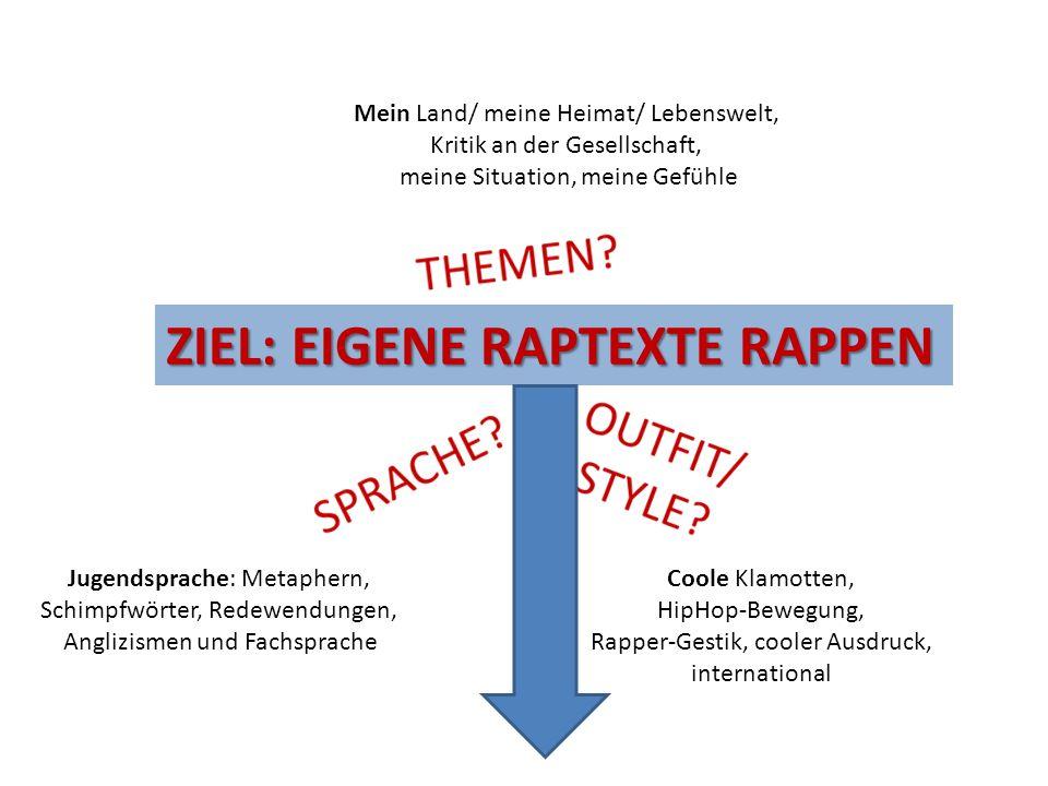 Jugendsprache: Metaphern, Schimpfwörter, Redewendungen, Anglizismen und Fachsprache Coole Klamotten, HipHop-Bewegung, Rapper-Gestik, cooler Ausdruck,