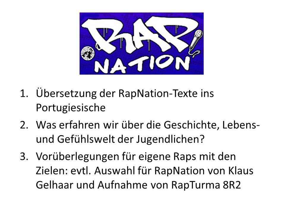 1.Übersetzung der RapNation-Texte ins Portugiesische 2.Was erfahren wir über die Geschichte, Lebens- und Gefühlswelt der Jugendlichen? 3.Vorüberlegung