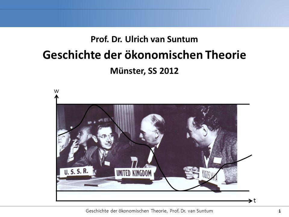 Geschichte der ökonomischen Theorie, Prof. Dr. van Suntum 1 Geschichte der ökonomischen Theorie Münster, SS 2012 Prof. Dr. Ulrich van Suntum t w