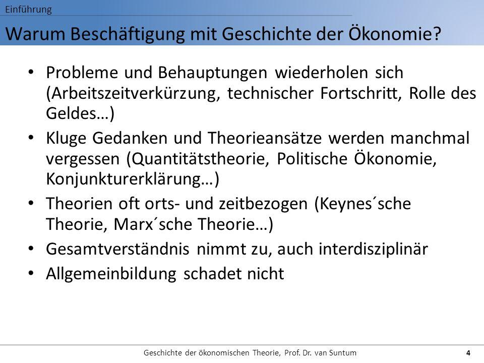 Warum Beschäftigung mit Geschichte der Ökonomie? Einführung Geschichte der ökonomischen Theorie, Prof. Dr. van Suntum 4 Probleme und Behauptungen wied