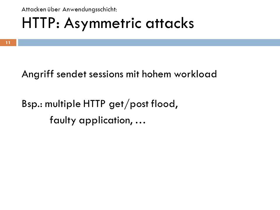 HTTP: Asymmetric attacks Angriff sendet sessions mit hohem workload Bsp.: multiple HTTP get/post flood, faulty application, … 11 Attacken über Anwendu
