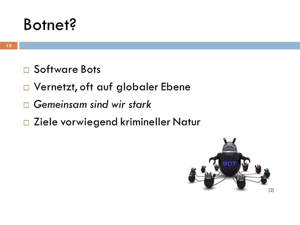Botnet? Software Bots Vernetzt, oft auf globaler Ebene Gemeinsam sind wir stark Ziele vorwiegend krimineller Natur 13 [2]