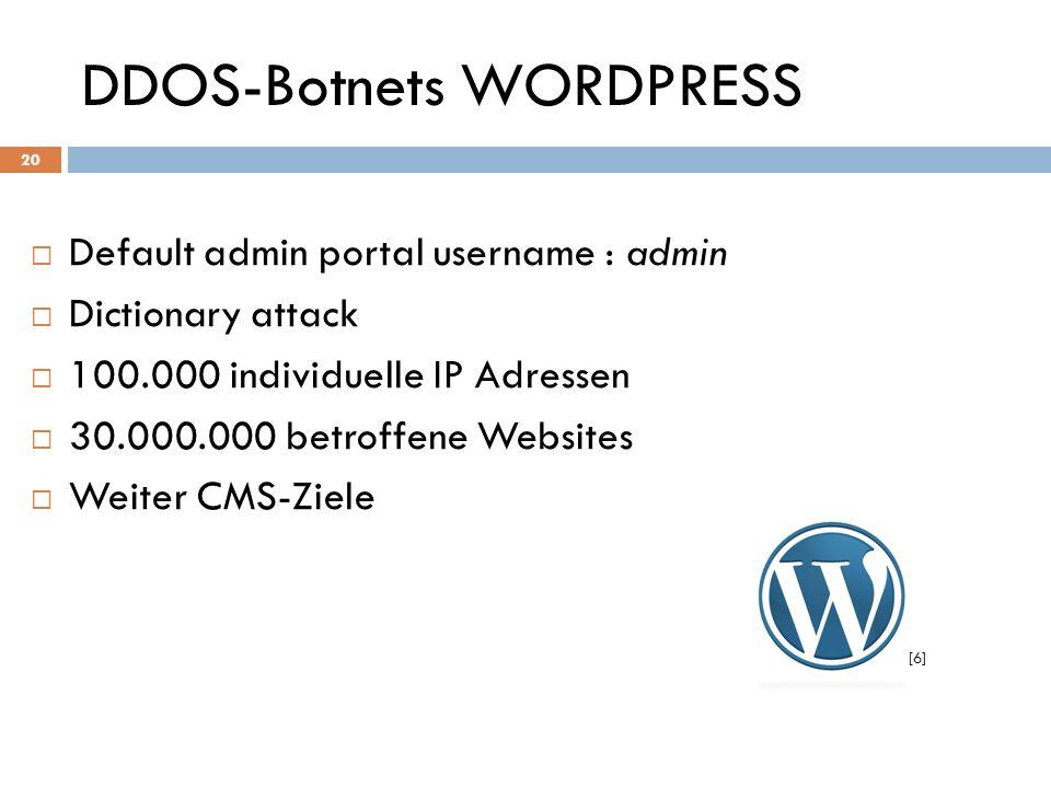 DDOS-Botnets WORDPRESS Default admin portal username : admin Dictionary attack 100.000 individuelle IP Adressen 30.000.000 betroffene Websites Weiter