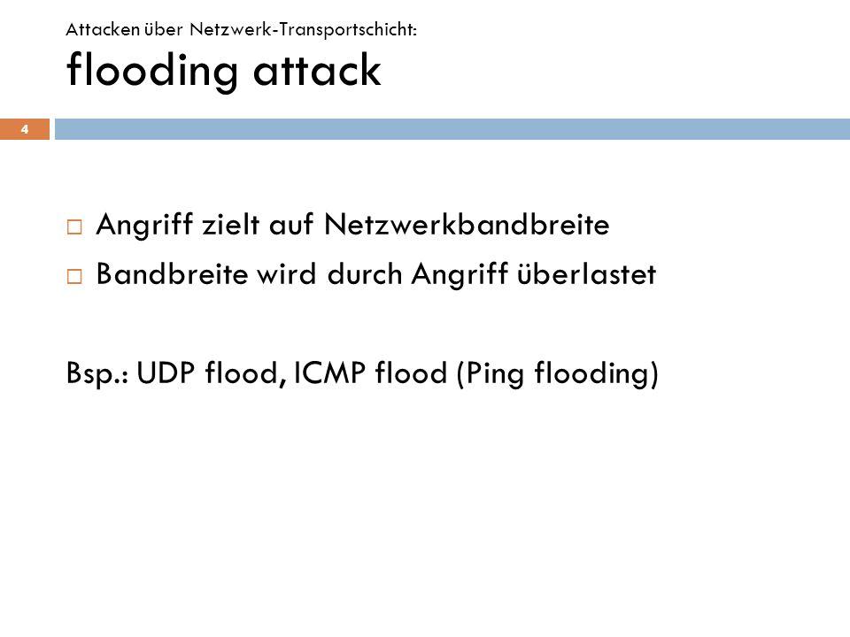 flooding attack Angriff zielt auf Netzwerkbandbreite Bandbreite wird durch Angriff überlastet Bsp.: UDP flood, ICMP flood (Ping flooding) 4 Attacken ü