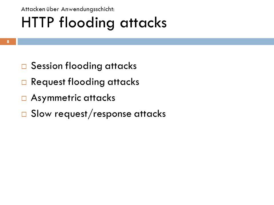 Session flooding attacks Request flooding attacks Asymmetric attacks Slow request/response attacks 8 Attacken über Anwendungsschicht: HTTP flooding at