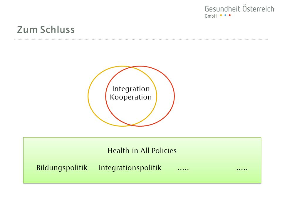 Zum Schluss Health in All Policies Bildungspolitik Integrationspolitik..........