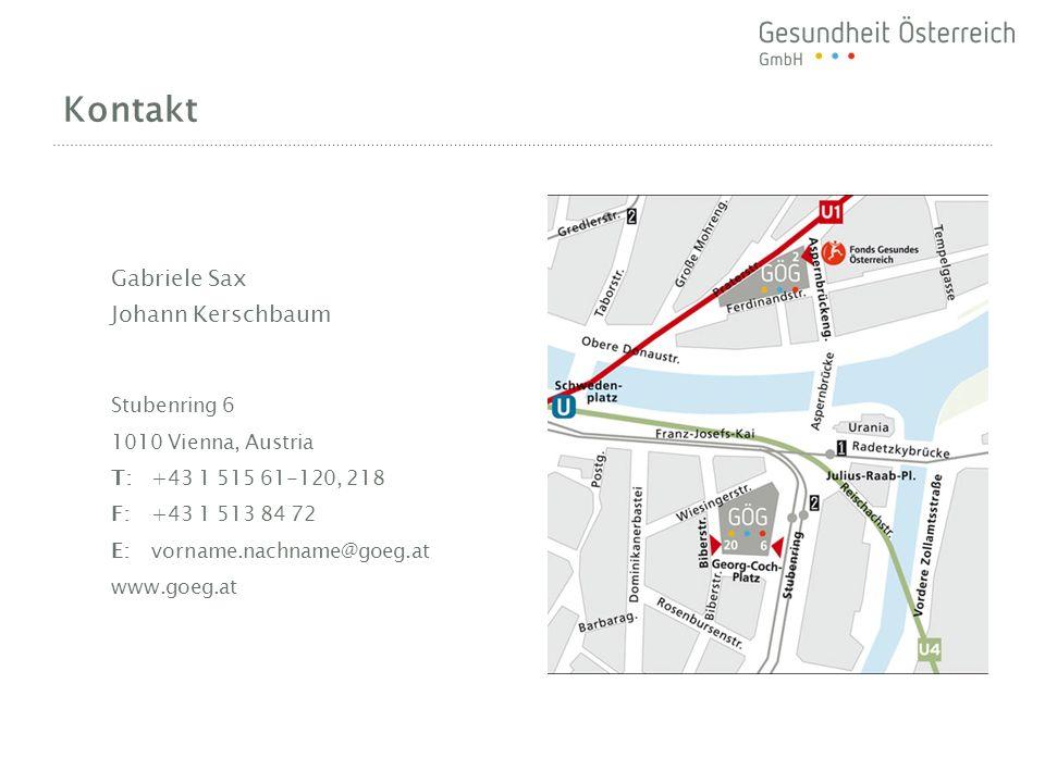Kontakt Gabriele Sax Johann Kerschbaum Stubenring 6 1010 Vienna, Austria T:+43 1 515 61-120, 218 F:+43 1 513 84 72 E:vorname.nachname@goeg.at www.goeg