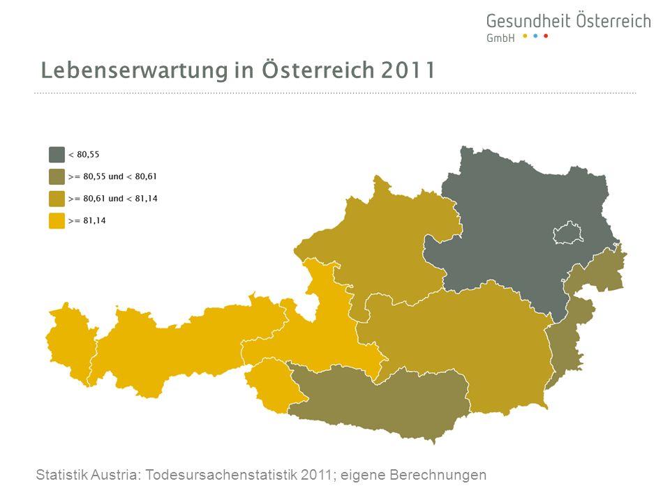 Lebenserwartung in Österreich 2011 Statistik Austria: Todesursachenstatistik 2011; eigene Berechnungen