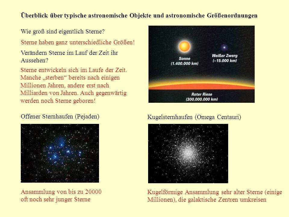 Überblick über typische astronomische Objekte und astronomische Größenordnungen Wie groß sind eigentlich Sterne? Sterne haben ganz unterschiedliche Gr