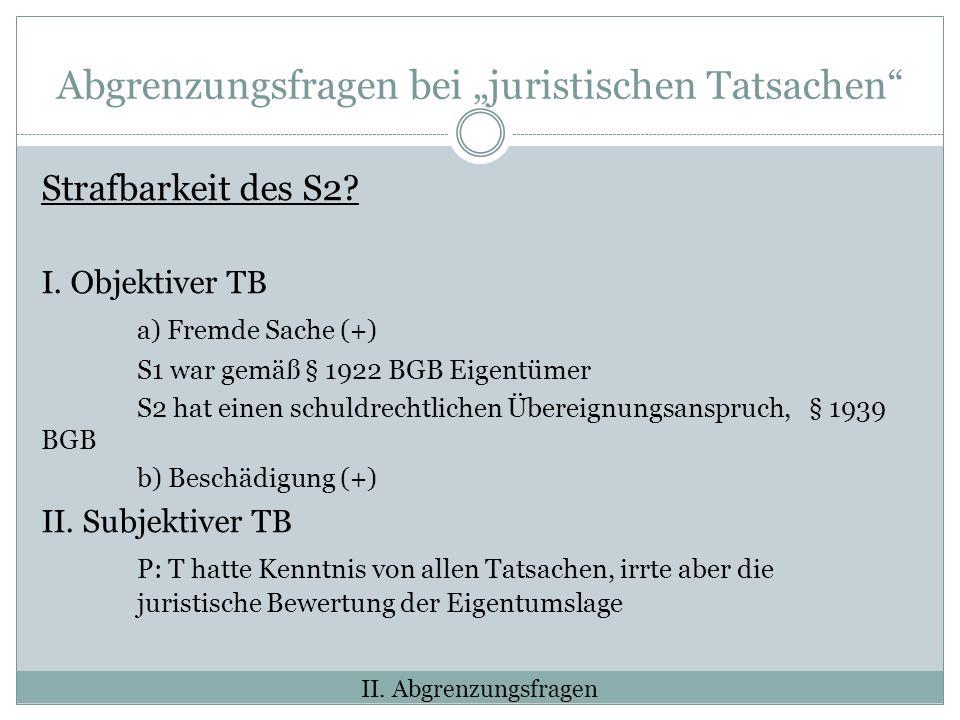 Abgrenzungsfragen bei juristischen Tatsachen Strafbarkeit des S2.