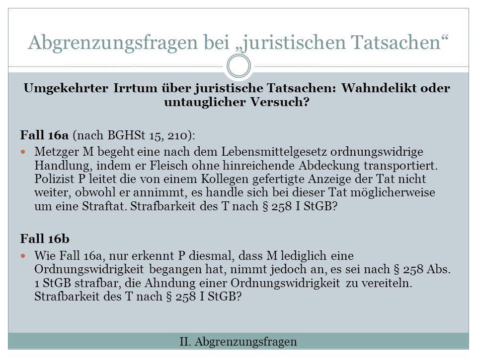 Abgrenzungsfragen bei juristischen Tatsachen Umgekehrter Irrtum über juristische Tatsachen: Wahndelikt oder untauglicher Versuch.
