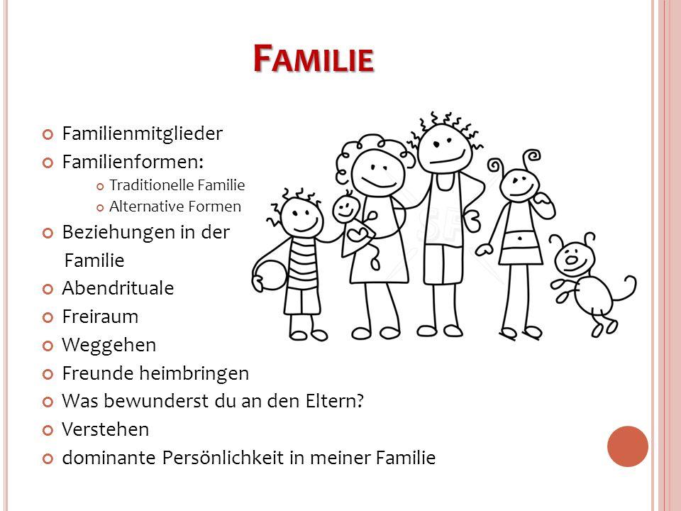 F AMILIE Familienmitglieder Familienformen: Traditionelle Familie Alternative Formen Beziehungen in der Familie Abendrituale Freiraum Weggehen Freunde