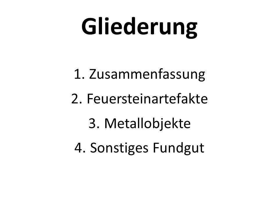 Gliederung 1.Zusammenfassung 2.Feuersteinartefakte 3.Metallobjekte 4.Sonstiges Fundgut