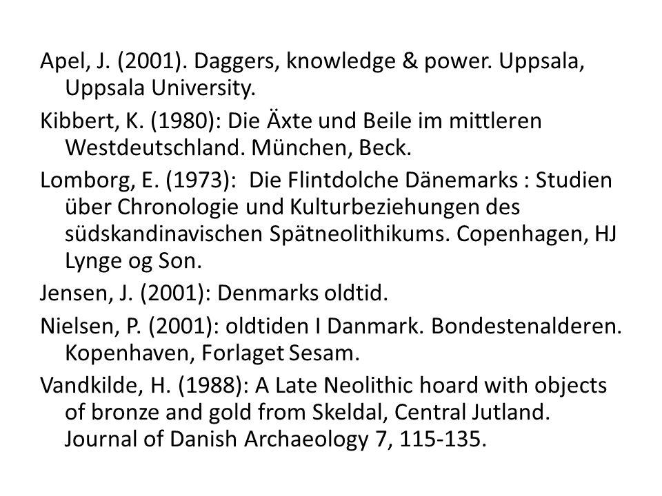 Apel, J. (2001). Daggers, knowledge & power. Uppsala, Uppsala University. Kibbert, K. (1980): Die Äxte und Beile im mittleren Westdeutschland. München