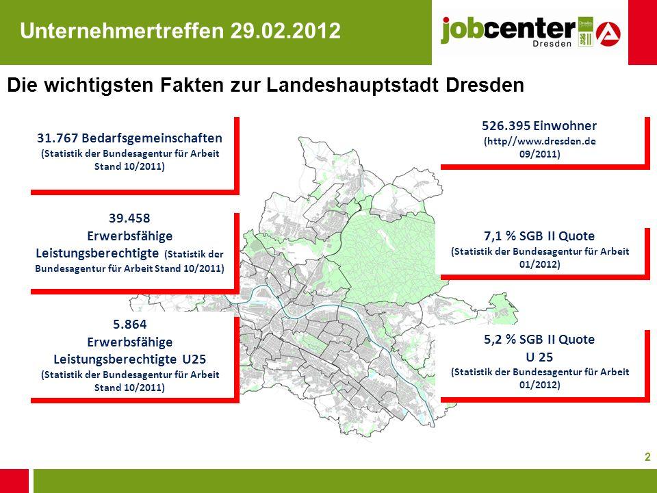 2 Die wichtigsten Fakten zur Landeshauptstadt Dresden 31.767 Bedarfsgemeinschaften (Statistik der Bundesagentur für Arbeit Stand 10/2011) 31.767 Bedar