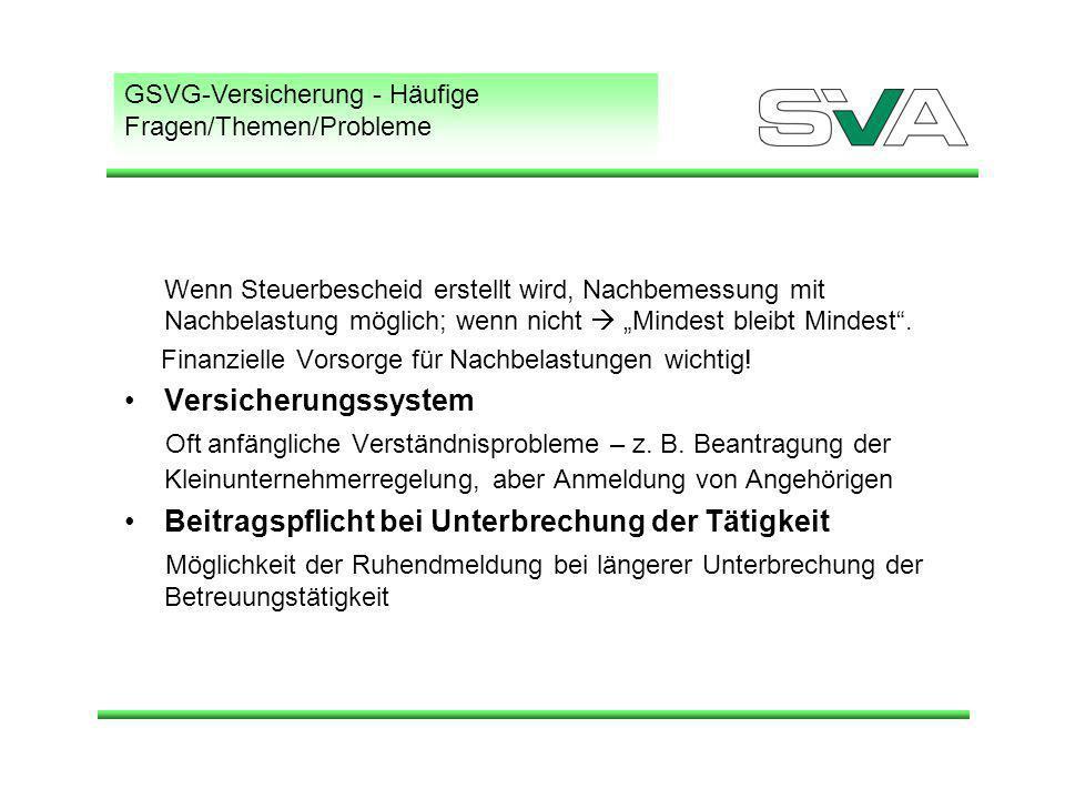 GSVG-Versicherung - Häufige Fragen/Themen/Probleme Wenn Steuerbescheid erstellt wird, Nachbemessung mit Nachbelastung möglich; wenn nicht Mindest bleibt Mindest.