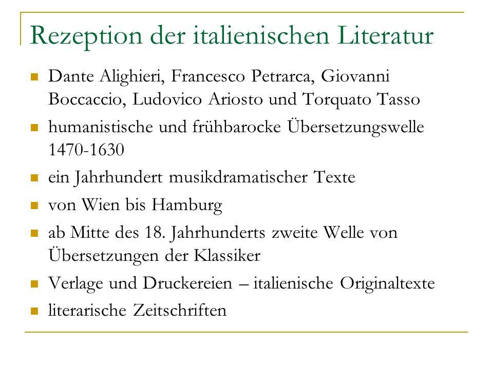 Rezeption der italienischen Literatur Dante Alighieri, Francesco Petrarca, Giovanni Boccaccio, Ludovico Ariosto und Torquato Tasso humanistische und f