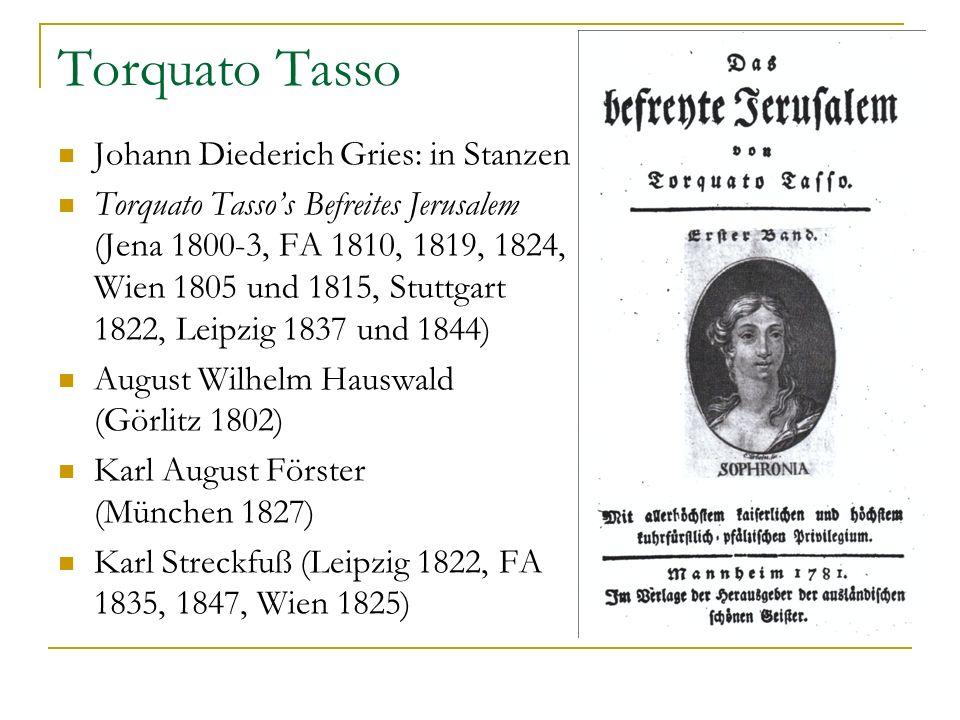 Torquato Tasso Johann Diederich Gries: in Stanzen Torquato Tassos Befreites Jerusalem (Jena 1800-3, FA 1810, 1819, 1824, Wien 1805 und 1815, Stuttgart