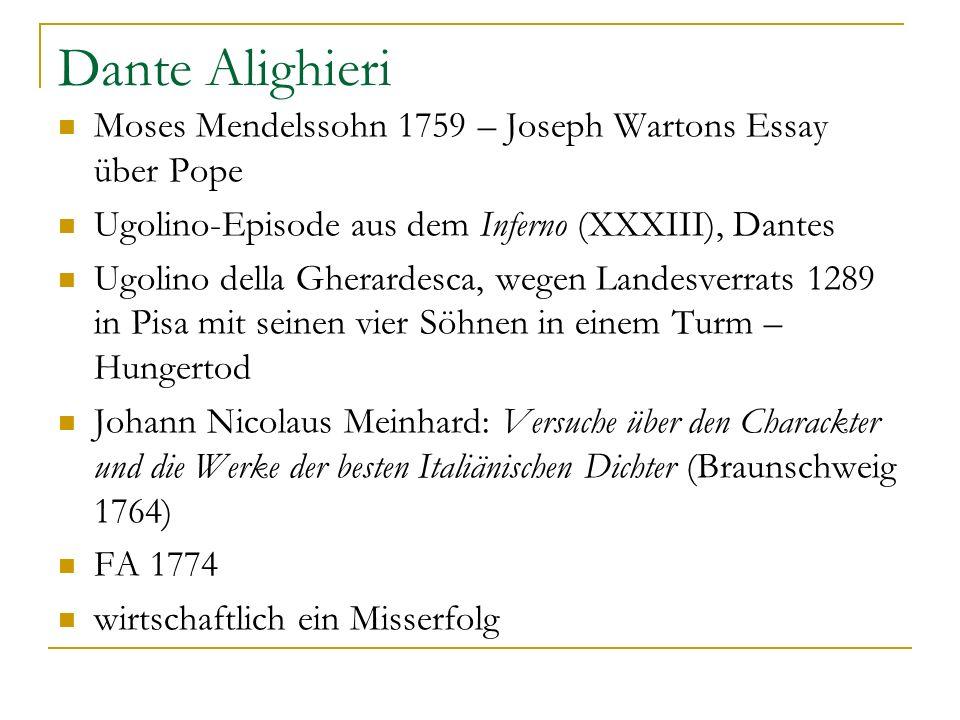 Dante Alighieri Moses Mendelssohn 1759 – Joseph Wartons Essay über Pope Ugolino-Episode aus dem Inferno (XXXIII), Dantes Ugolino della Gherardesca, we