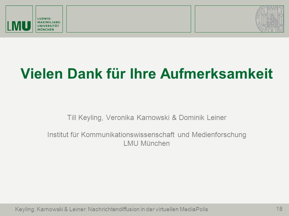 18 Vielen Dank für Ihre Aufmerksamkeit Till Keyling, Veronika Karnowski & Dominik Leiner Institut für Kommunikationswissenschaft und Medienforschung L