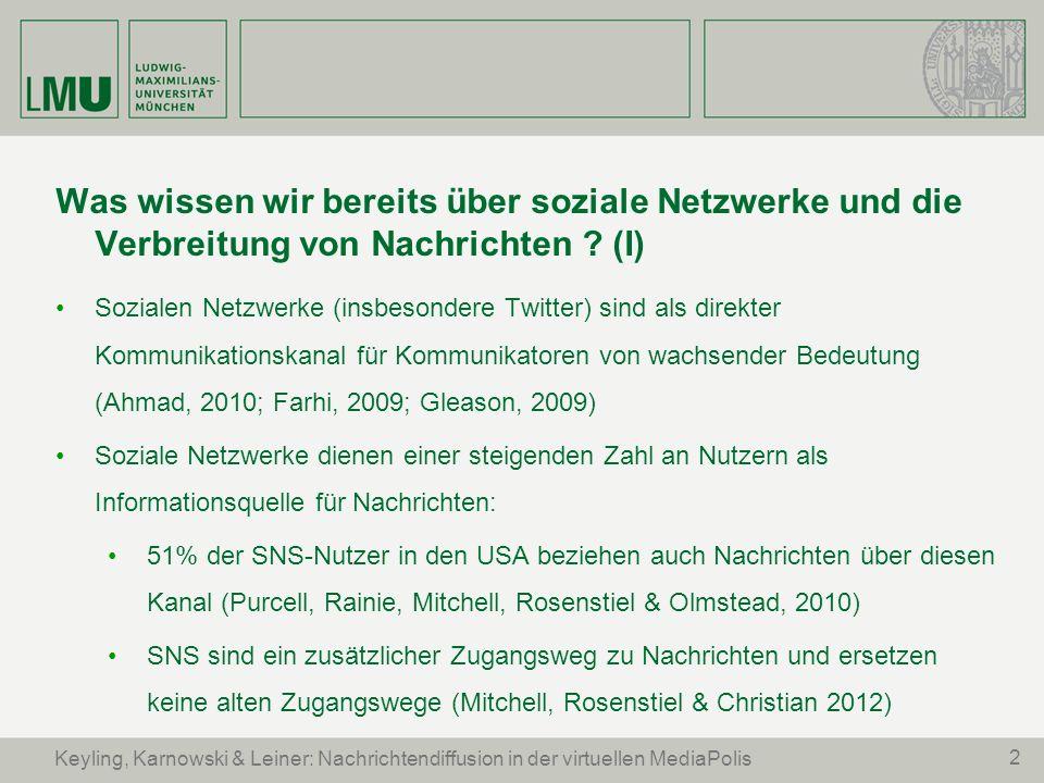 2 Keyling, Karnowski & Leiner: Nachrichtendiffusion in der virtuellen MediaPolis Was wissen wir bereits über soziale Netzwerke und die Verbreitung von