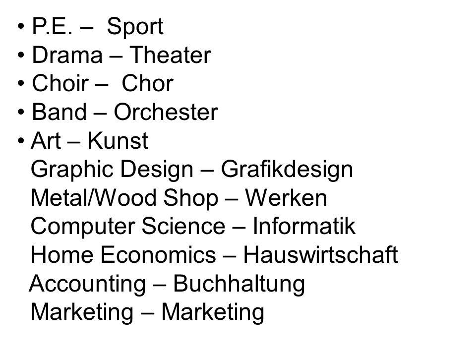 P.E. – Sport Drama – Theater Choir – Chor Band – Orchester Art – Kunst Graphic Design – Grafikdesign Metal/Wood Shop – Werken Computer Science – Infor