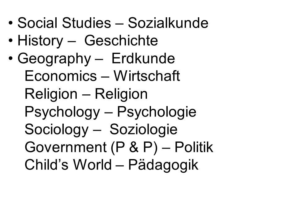 Social Studies – Sozialkunde History – Geschichte Geography – Erdkunde Economics – Wirtschaft Religion – Religion Psychology – Psychologie Sociology – Soziologie Government (P & P) – Politik Childs World – Pädagogik